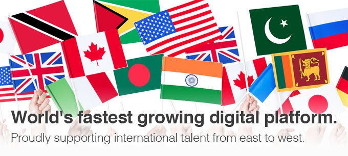 World's fastest growing digital platform. Proudly supporting international talent from east to west.